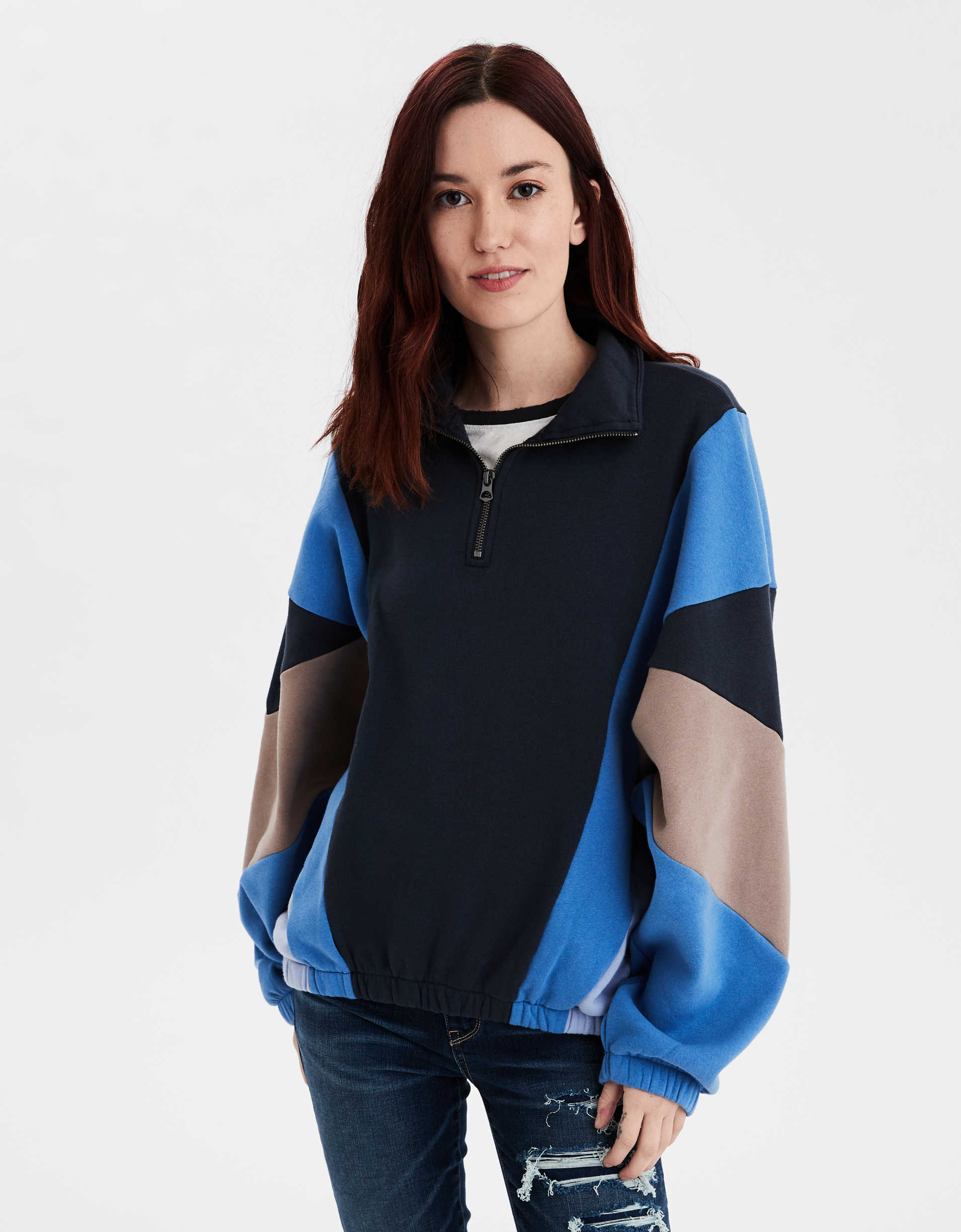 AE Fleece Color Block Quarter Zip Sweatshirt