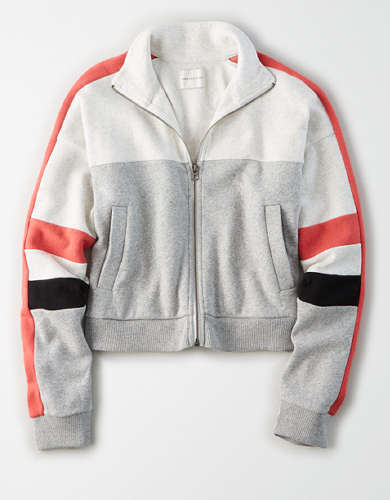AE Fleece Color Block Zip Up Sweatshirt