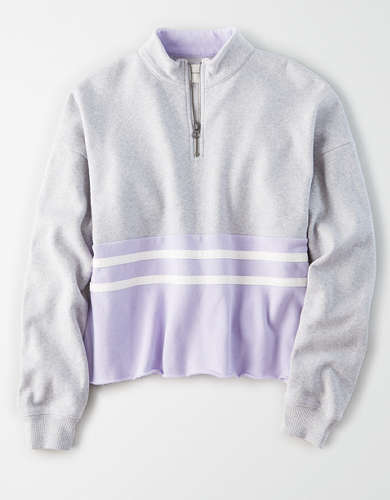 AE Fleece Quarter Zip Cropped Sweatshirt