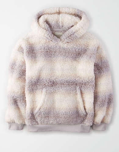 AE Fuzzy Sherpa Printed Oversized Hoodie
