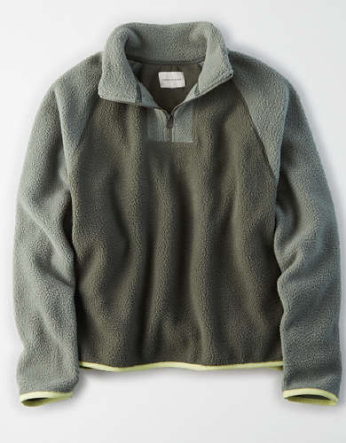 AE Sherpa Color Block Quarter Zip Sweatshirt