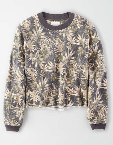 AE Fleece Printed Crew Neck Sweatshirt