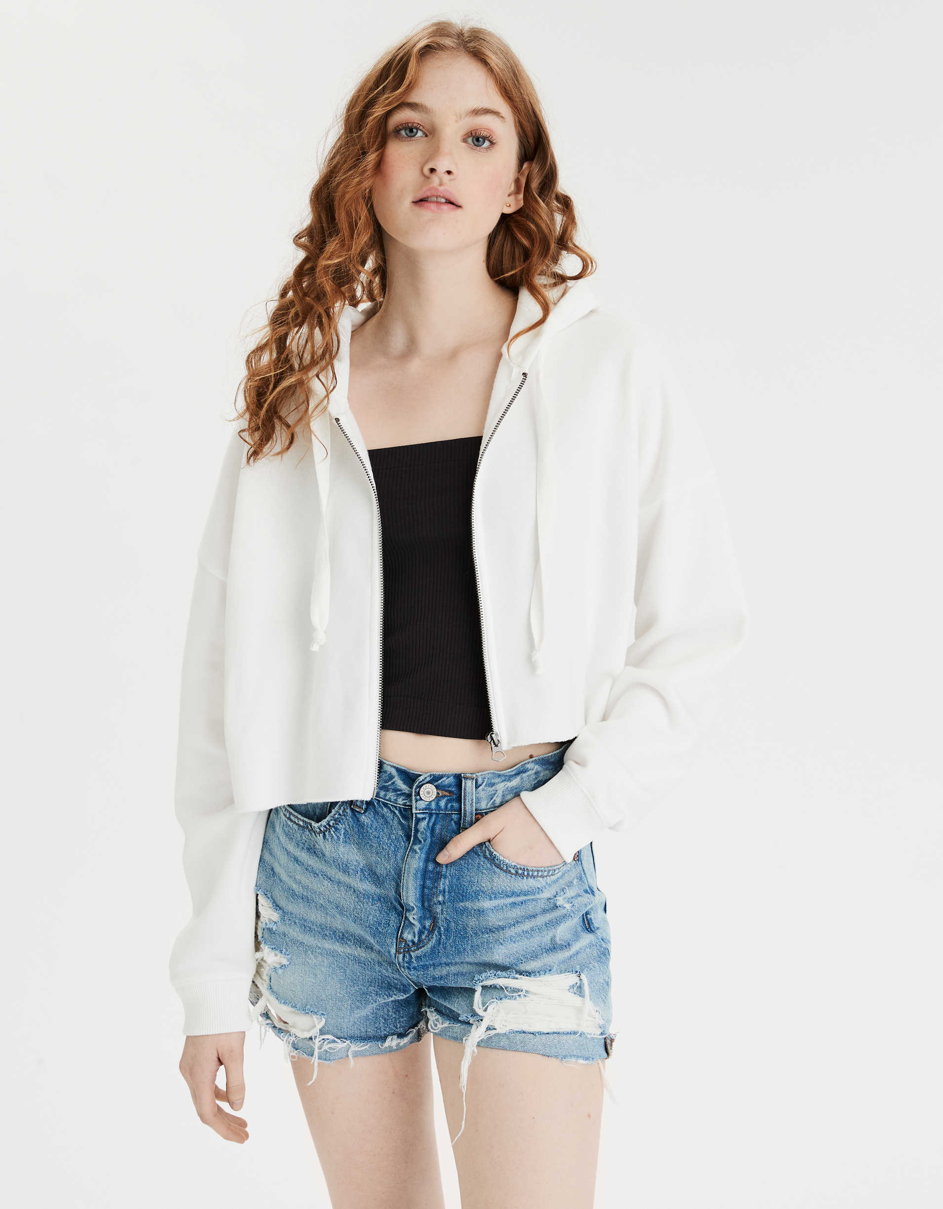 AE Fleece Cropped Zip Up Sweatshirt