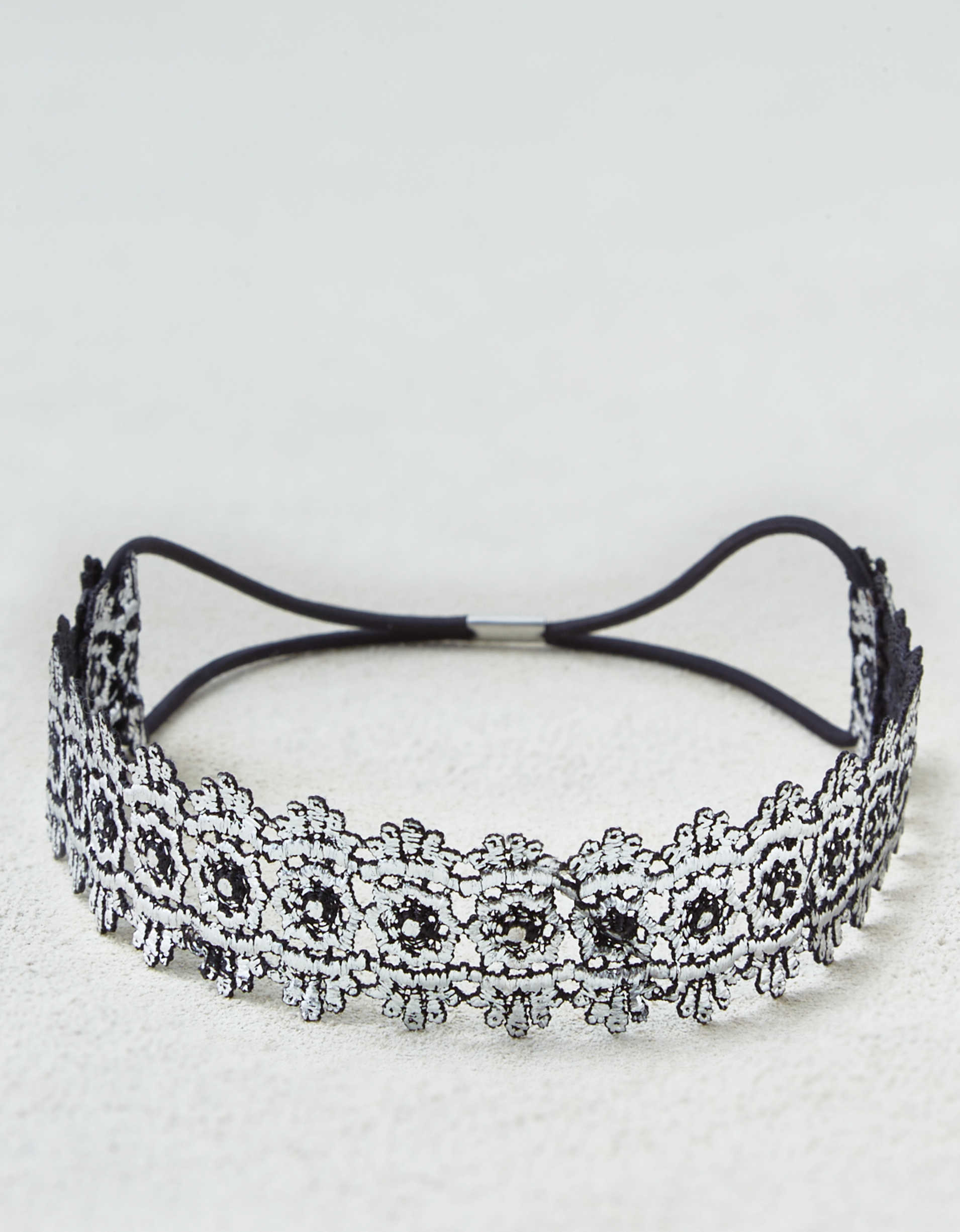 AEO Metallic Silver Lace Headband