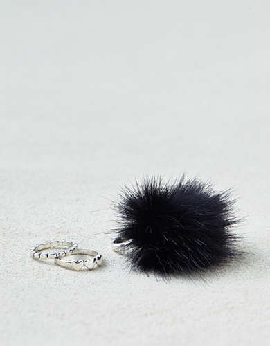 AEO Faux Fur & Hearts Rings 3-Pack -