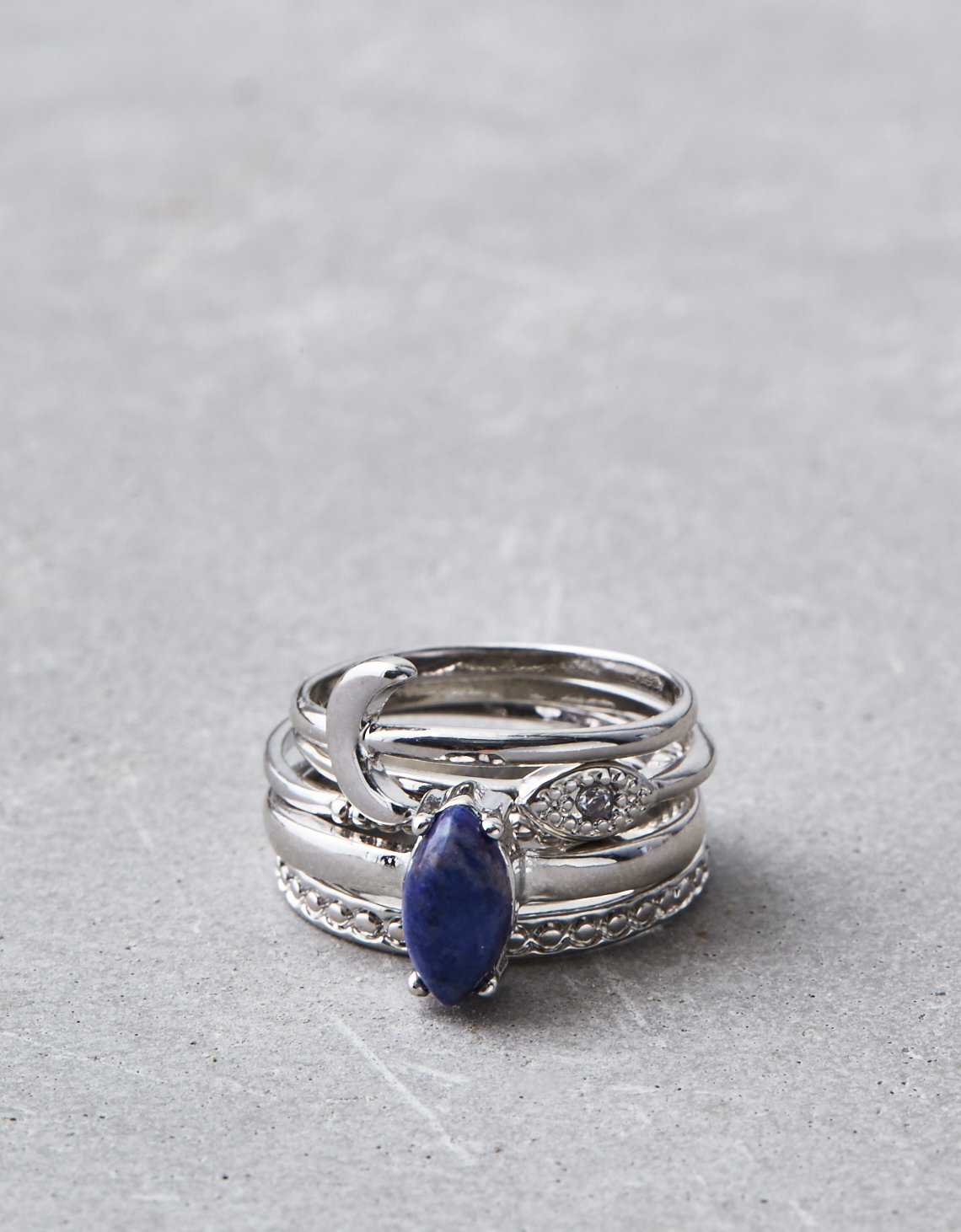 AEO Silver And Sodalite Statement Ring 5-Pack | Tuggl