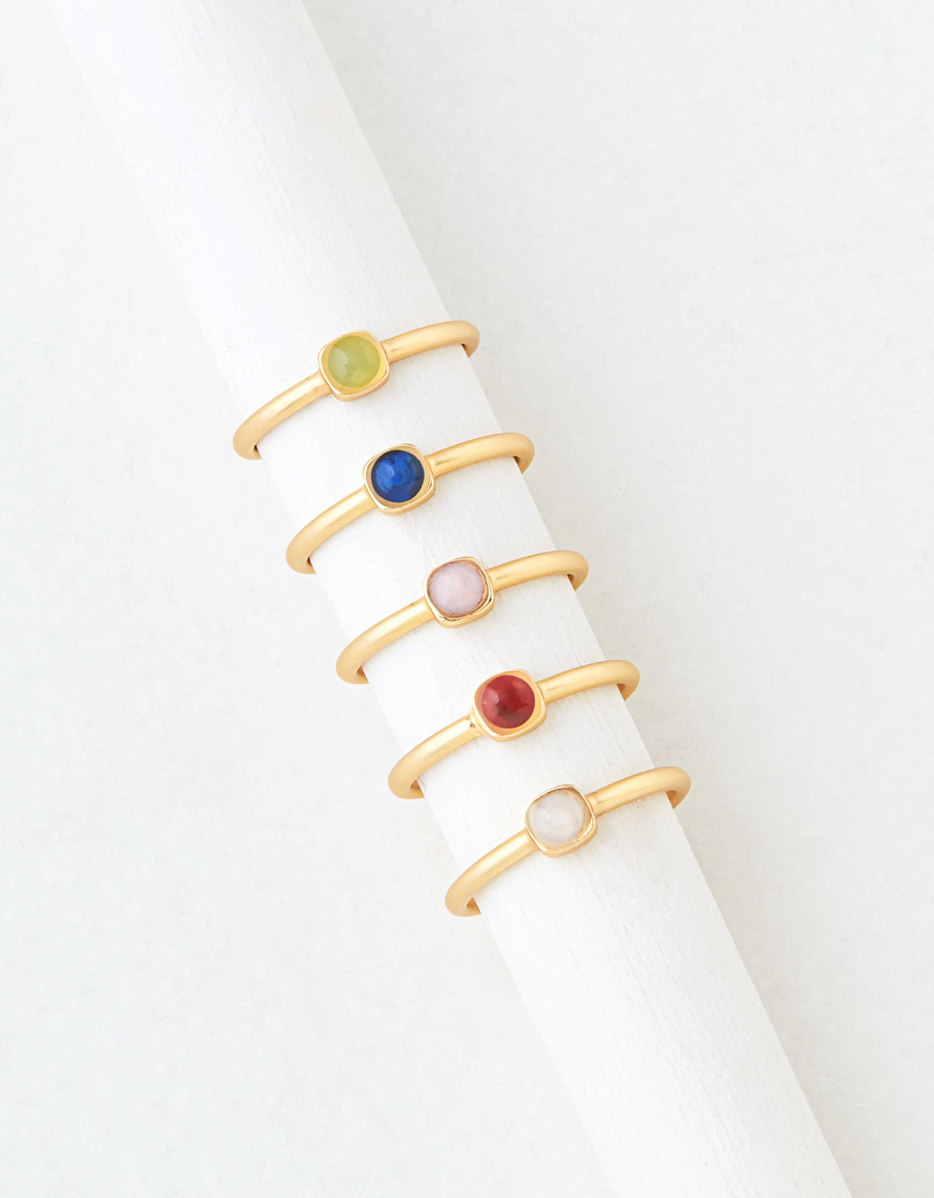 AEO Gold Multi Colored Stone Rings 5-Pack
