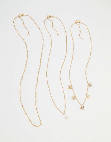 AEO Pearl + Butterfly Necklaces 3-Pack