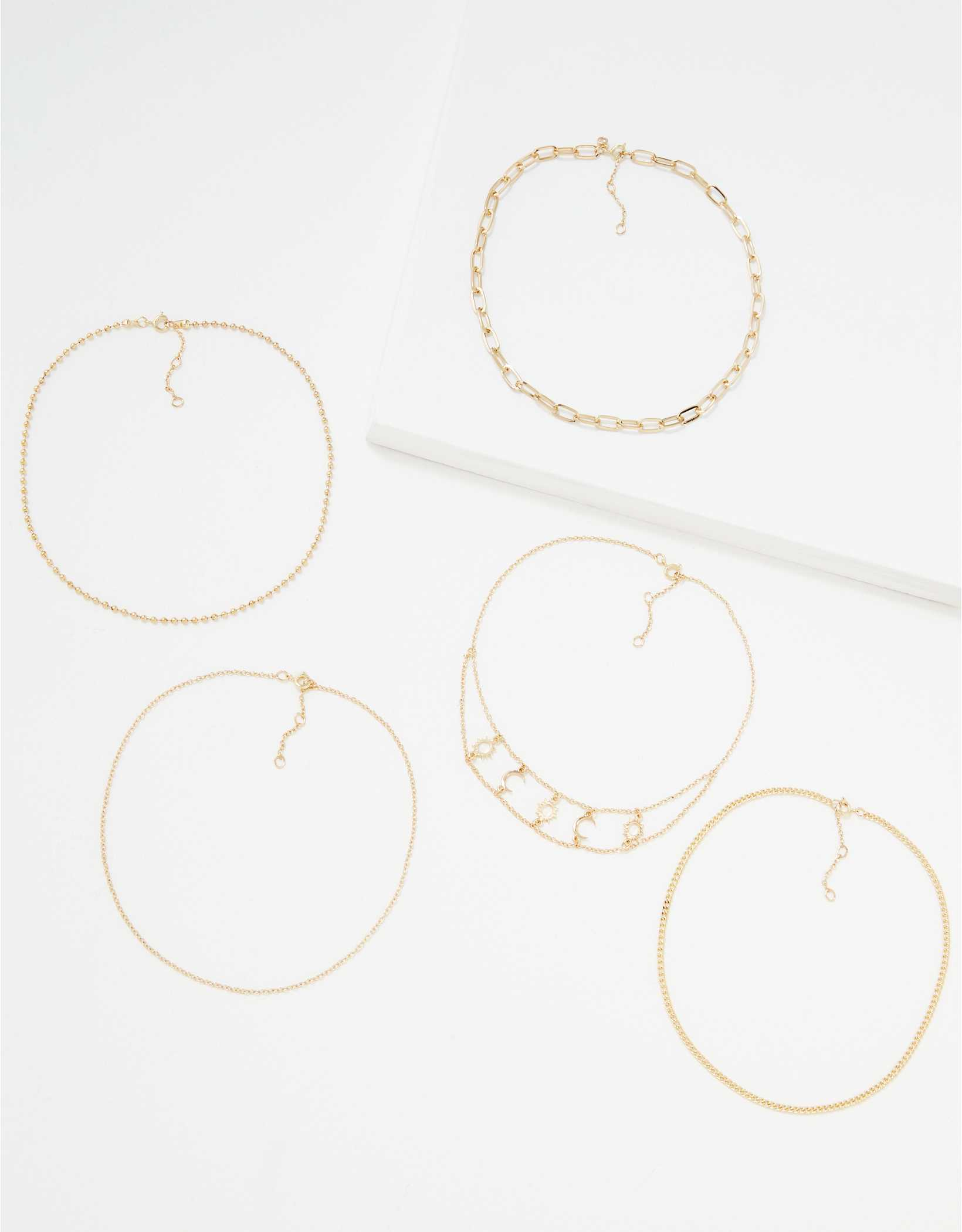 AEO Gold Moon Choker Necklaces 5-Pack