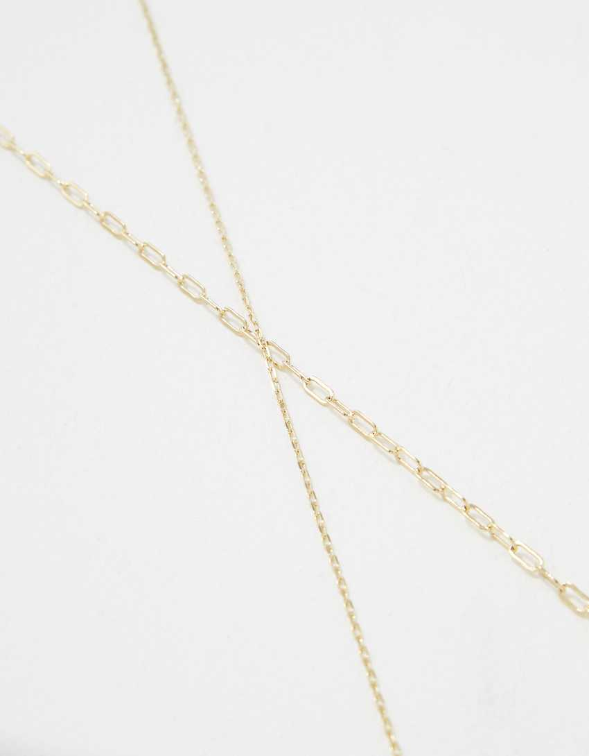 AE Demi-Fine 14K Gold Paperclip Necklace 2-Pack