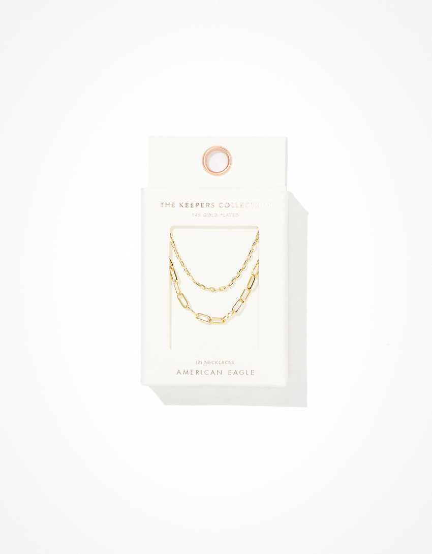 AE The Keeper's Collection 14K Gold Paperclip Necklace 2-Pack
