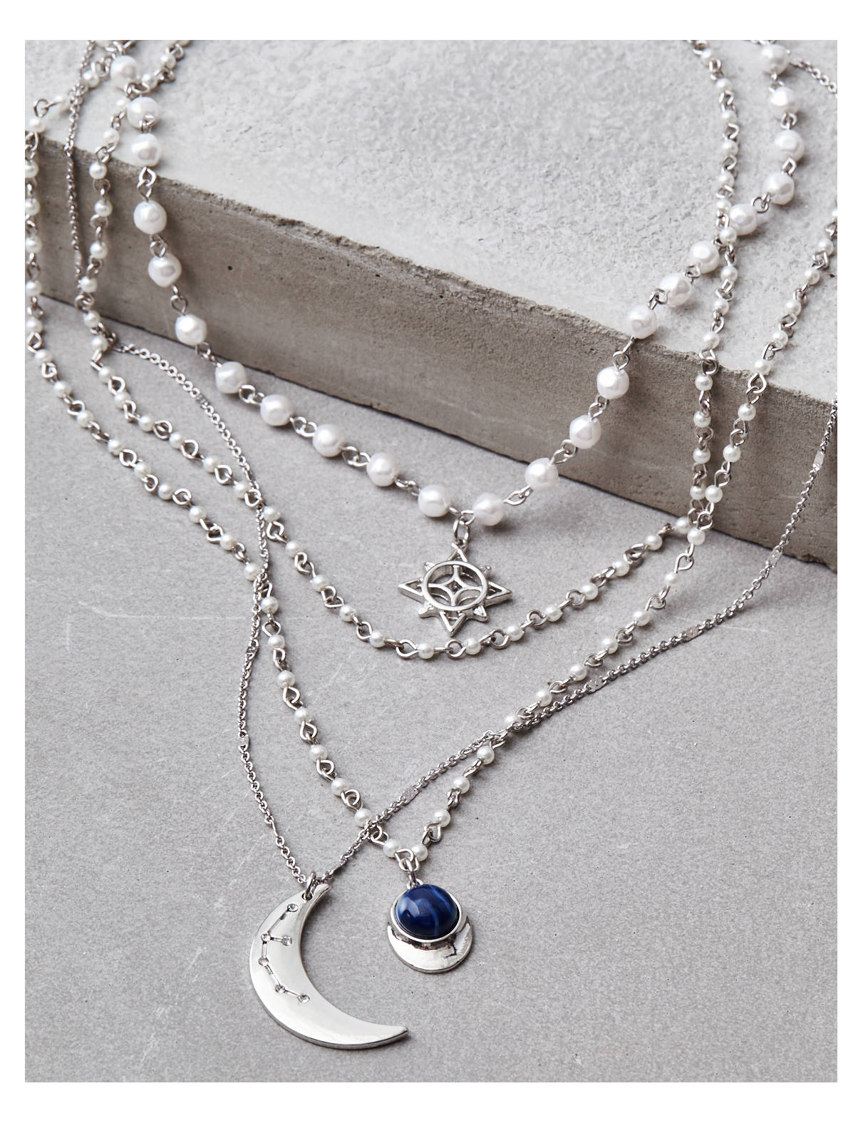 Display product reviews for AEO Silver Pearl Long Layering Necklace