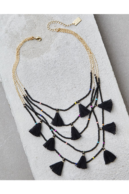AE Black Bead And Tassel Layering Necklace