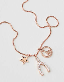 AEO Rose Gold Wishbone Necklace