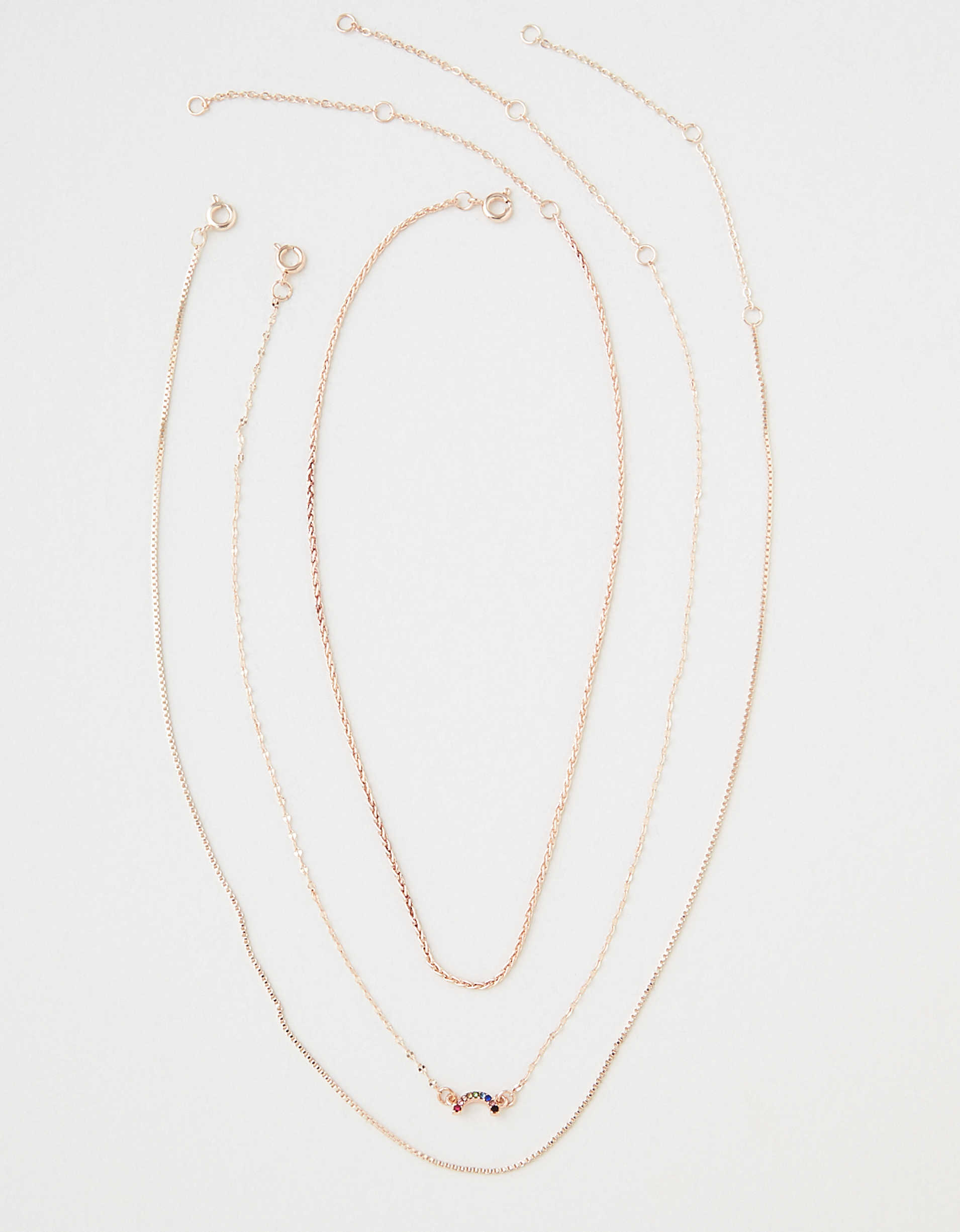 AEO Dainty Rainbow Layering Necklace