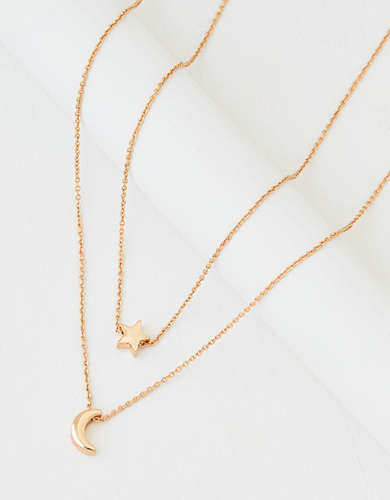 AEO Gold Star + Moon Necklace 2-Pack