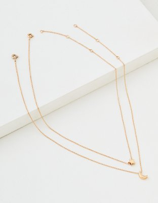 Aeo Gold Star + Moon Necklace 2 Pack by American Eagle Outfitters