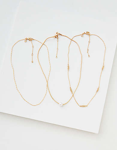 AEO Delicate Pearl Necklaces 3-Pack