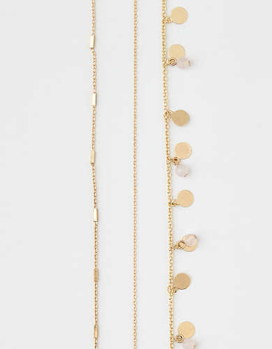 AEO Layered Gold Disc Necklace 3-Pack