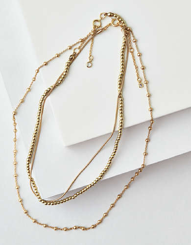 AEO Gold Beaded Necklace 3-Pack