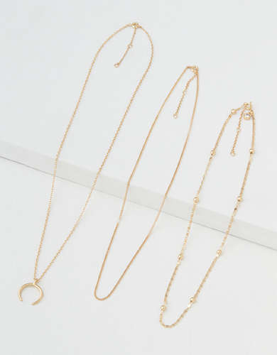 AEO Gold Layer Necklaces 3-Pack