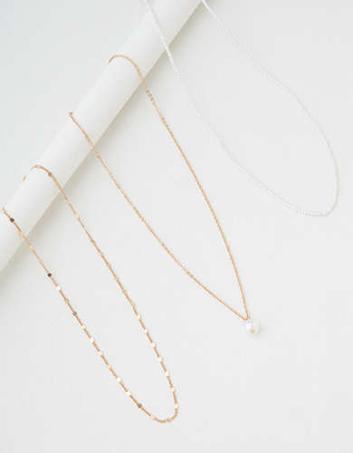 AEO Layering Pearl Necklaces 3-Pack