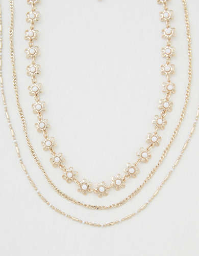 AEO Daisy Layered Necklaces 3-Pack