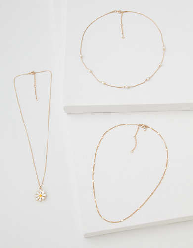 AEO Daisy + Pearl Necklaces 3-Pack
