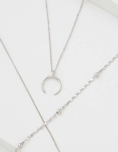 AEO Silver Crescent Necklaces 2-Pack