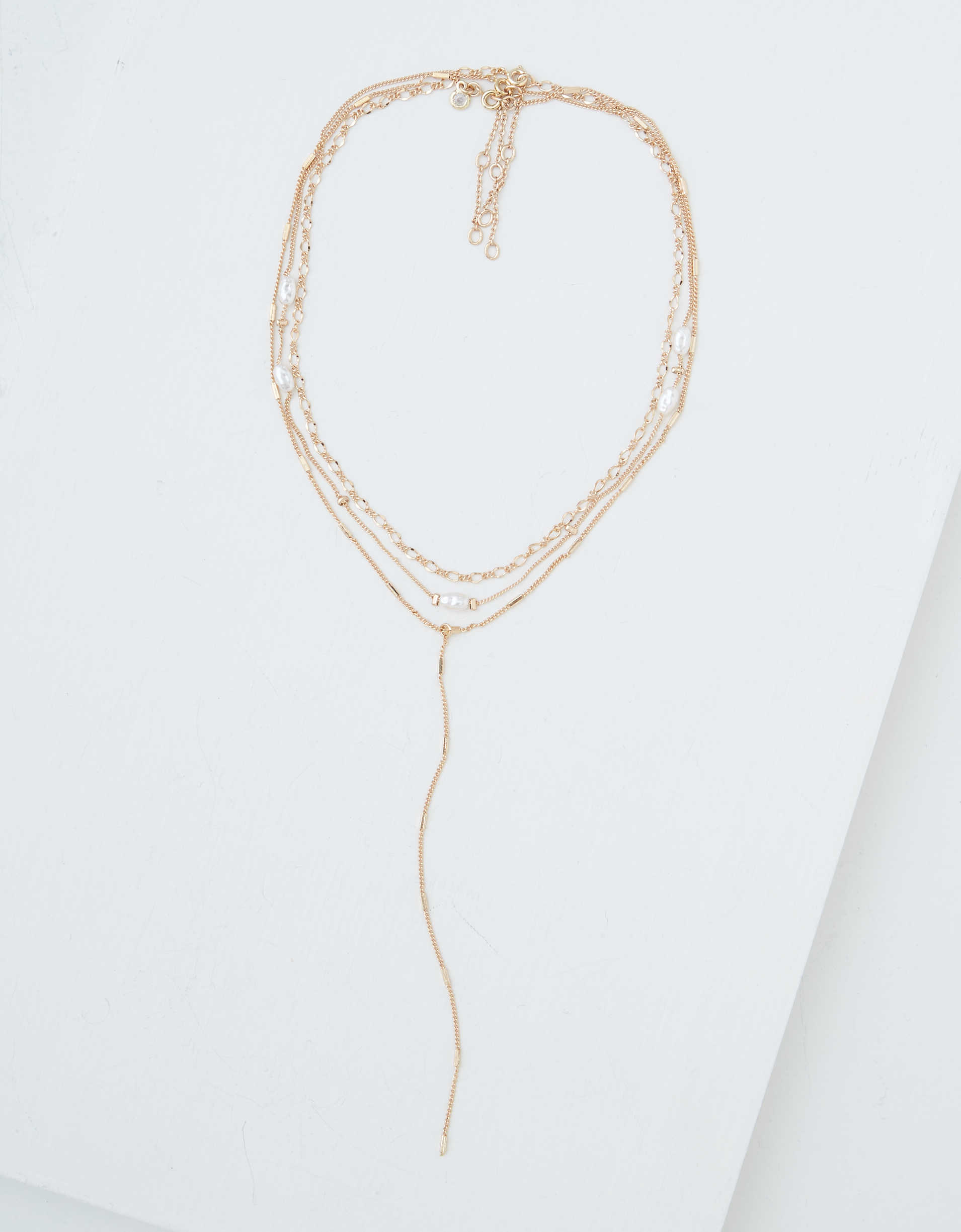 AEO Pearl Lariat Necklaces 3-Pack