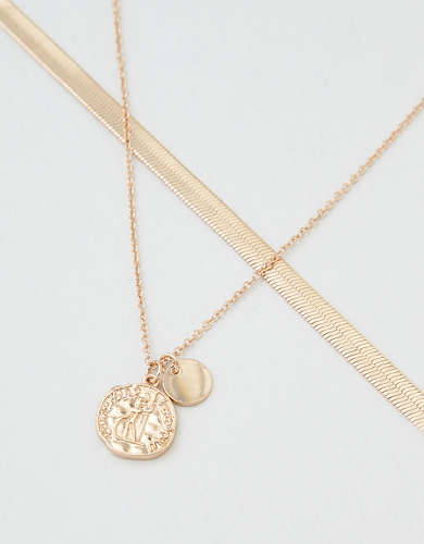 AEO Coin + Flat Chain Necklaces 2-Pack