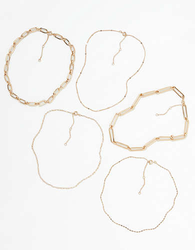 AEO Gold Choker Necklaces 5-Pack