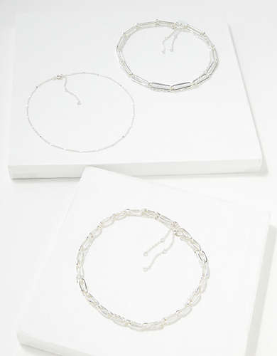 AEO Silver Choker Necklaces 5-Pack