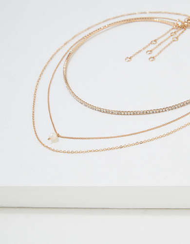 AEO Gold Pearl Necklaces 3-Pack