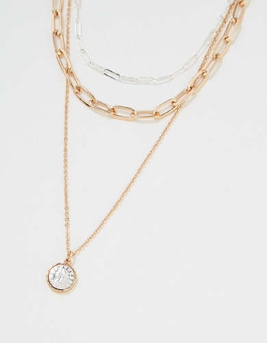 AEO Gold + Silver Coin Necklace