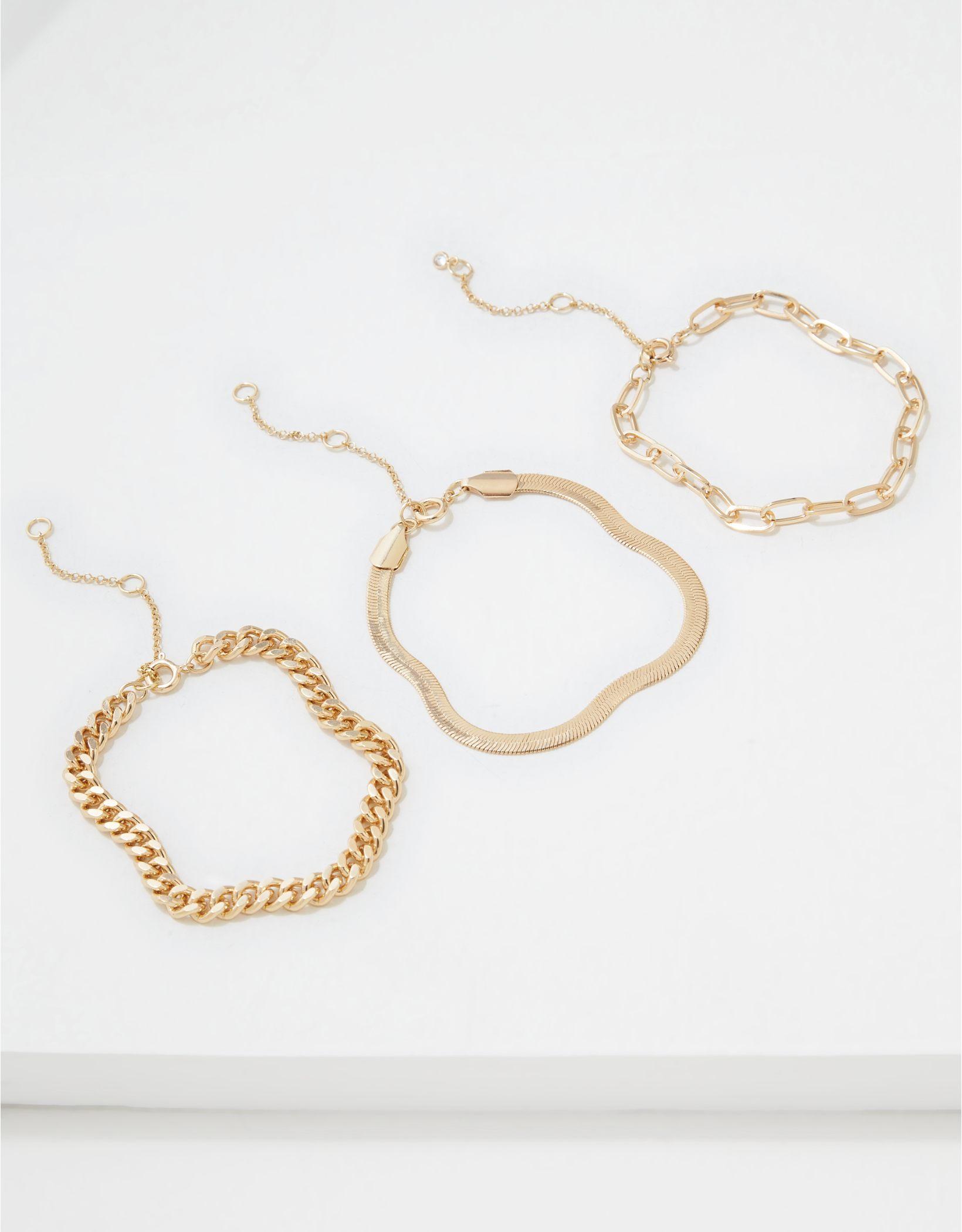 AEO Gold Chunky Chain Bracelets 3-Pack