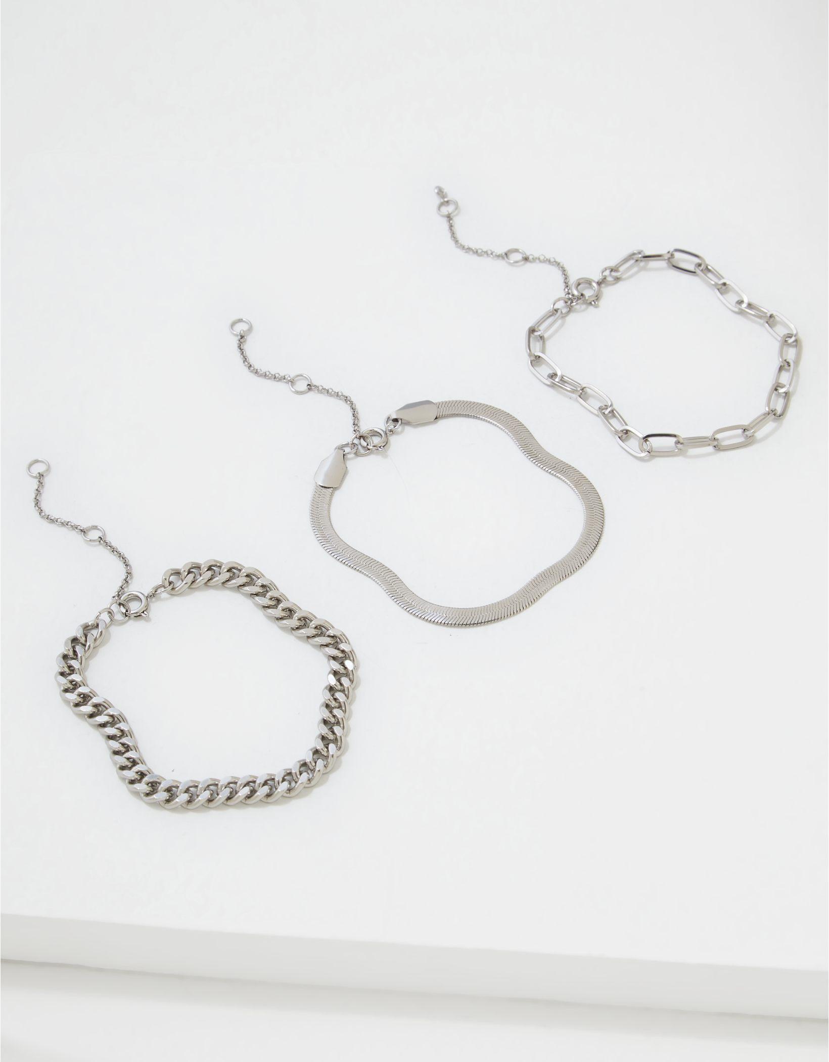 AEO Silver Chunky Chain Bracelets 3-Pack