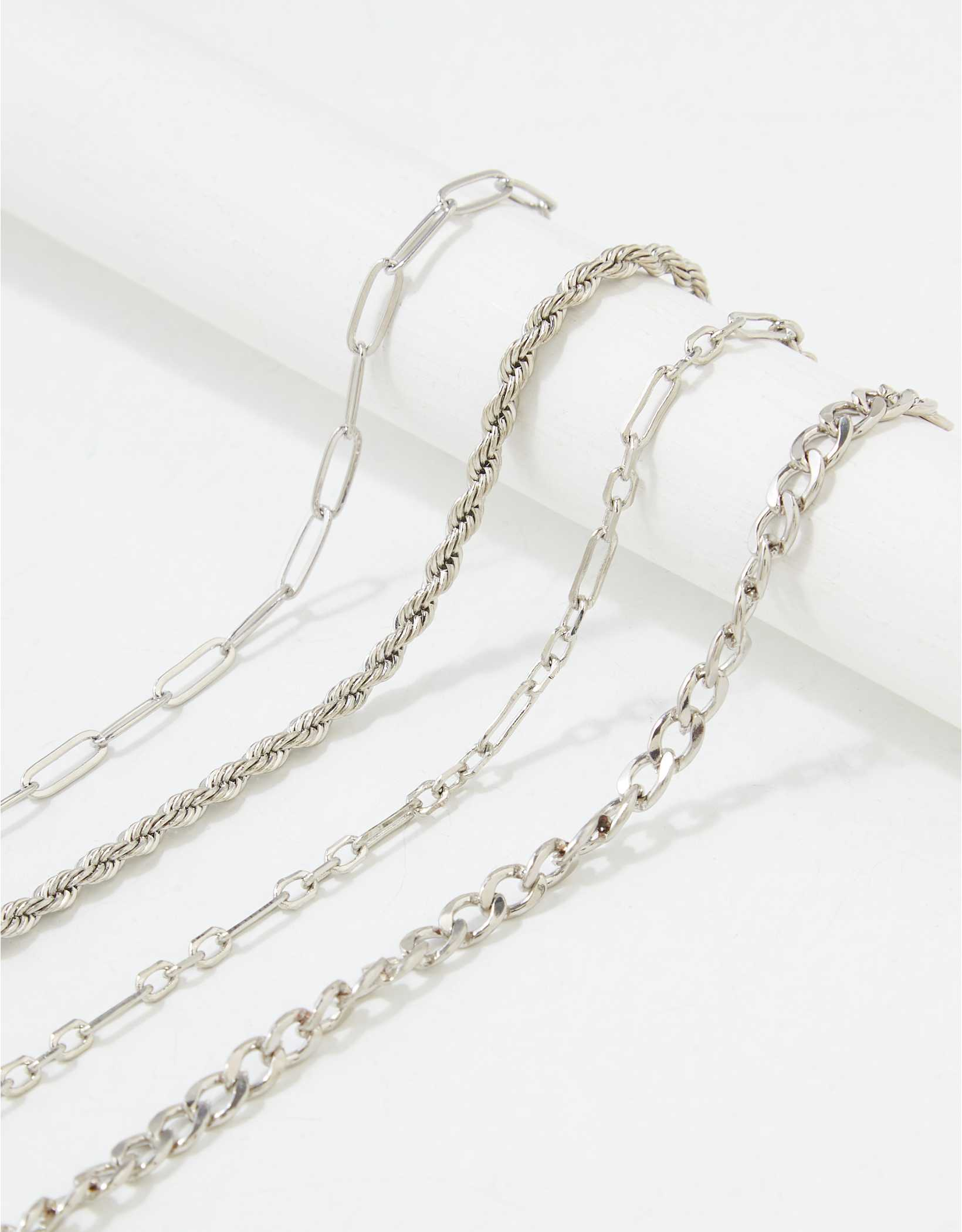 AEO Silver Chain Link Bracelets 4-Pack