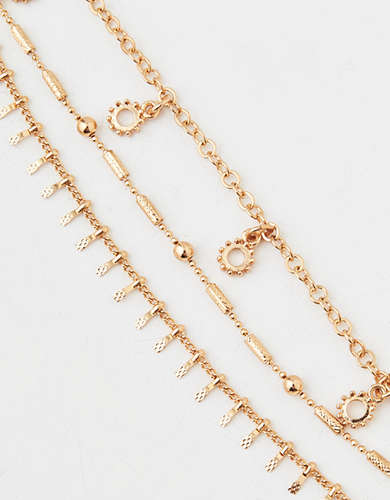 AEO Delicate Gold Chain Bracelet 3-Pack