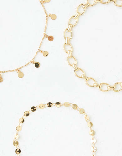 AEO Gold Chain Bracelets 3-Pack