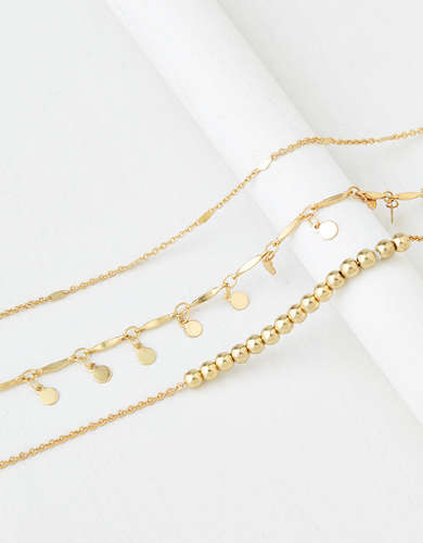 AEO Gold Anklets 3-Pack
