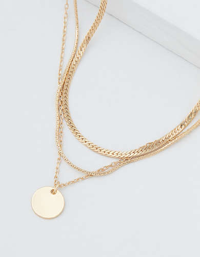 AEO Gold Disc Necklaces 3-Pack