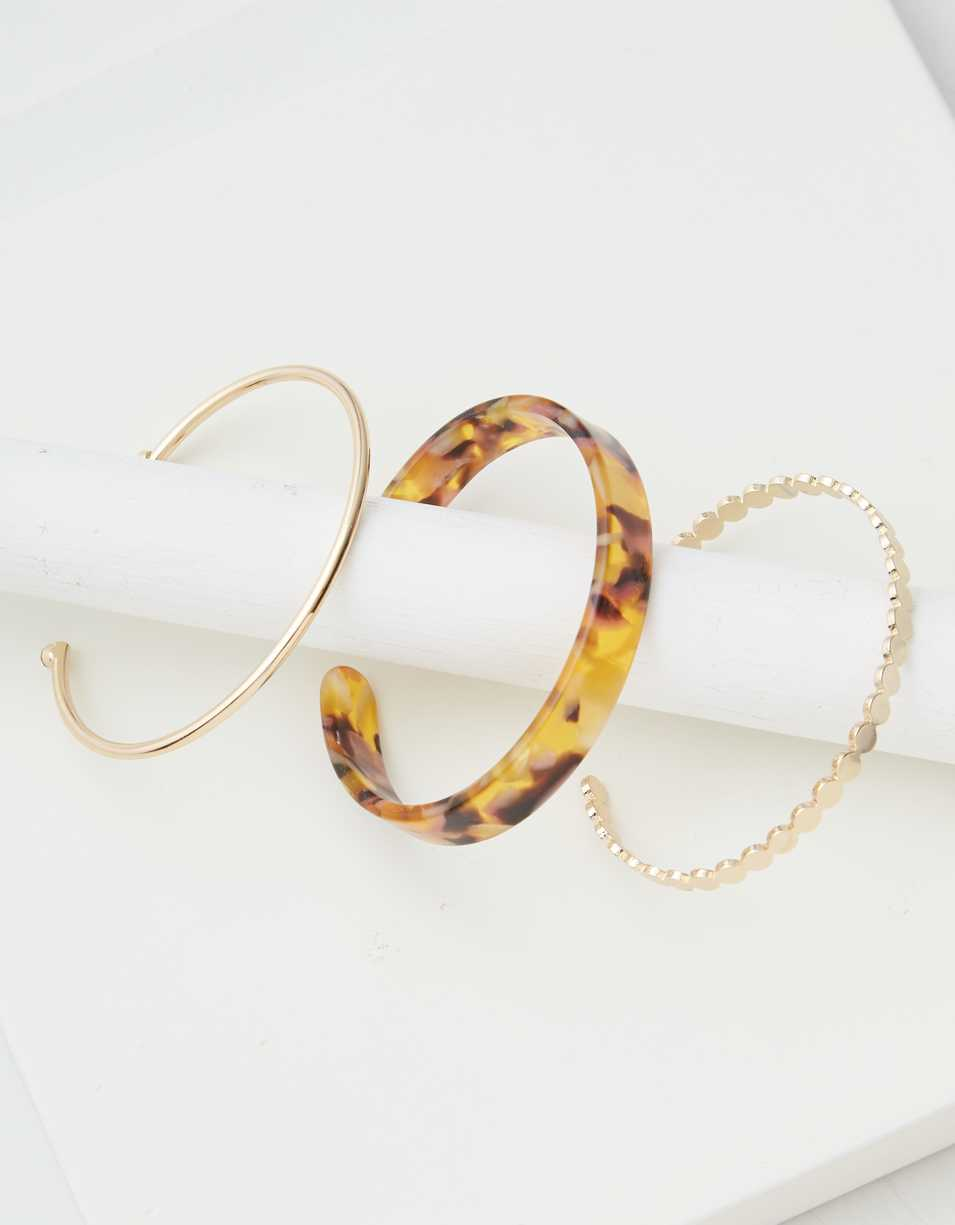 AEO Gold Resin Cuff Bracelets 3-Pack