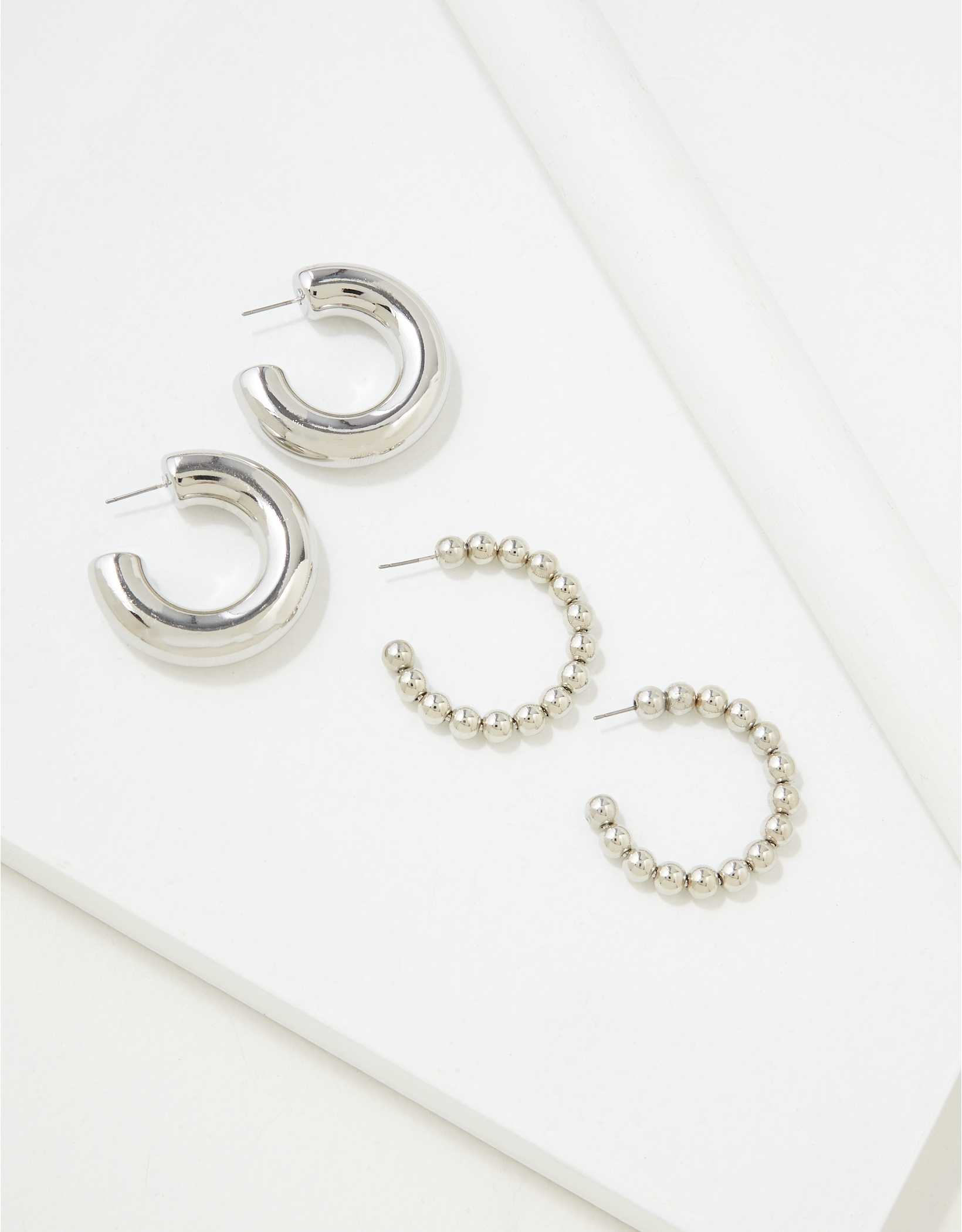 AEO Silver Hoop Earrings 2-Pack