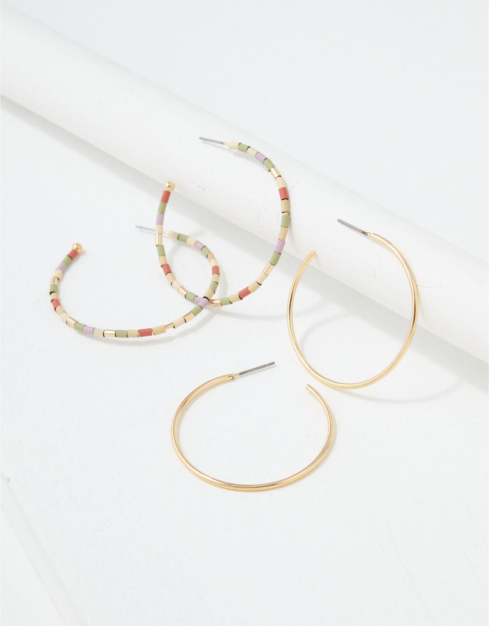 AEO Gold Beaded & Hoop Earrings 2-Pack