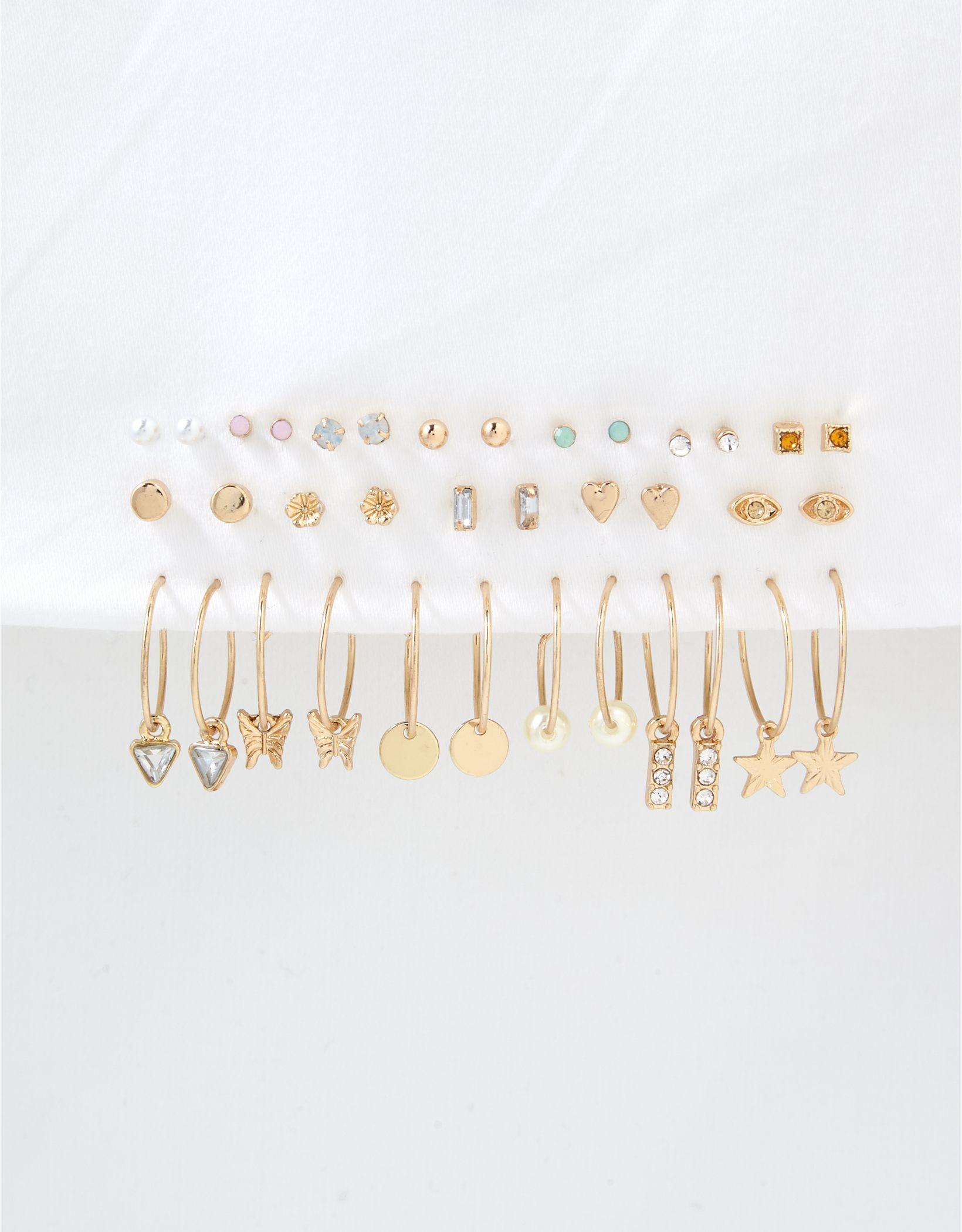 AEO Gold Mini Hoop Earrings 18-Pack