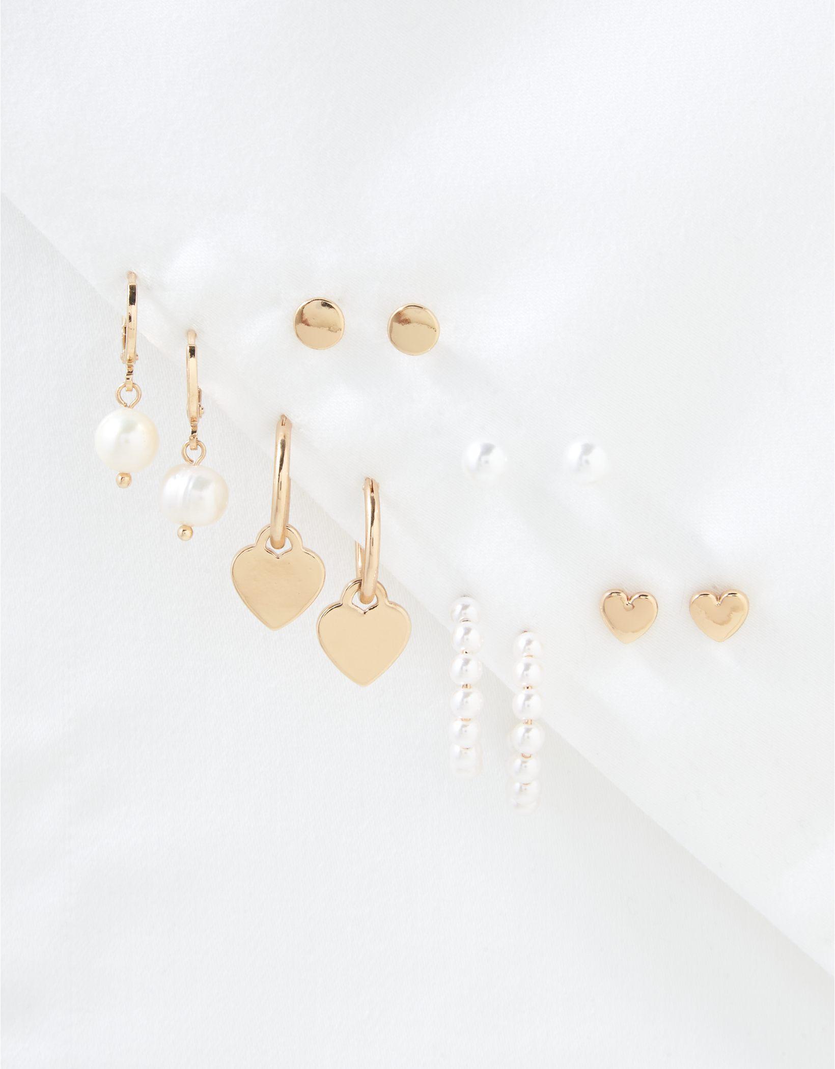 AEO Hearts + Pearls Earrings 6-Pack