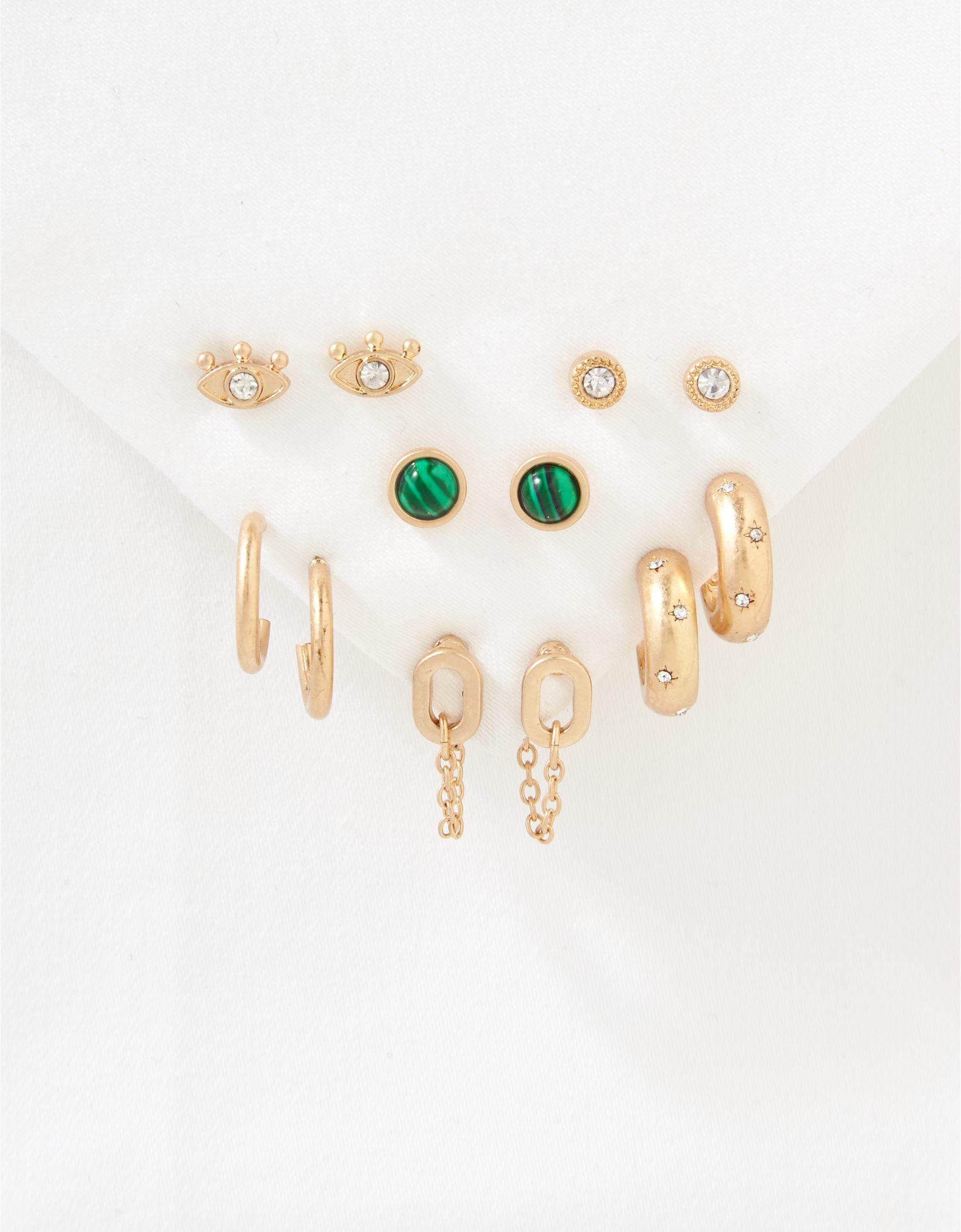 AEO Eye + Green Stone Earrings 6-Pack