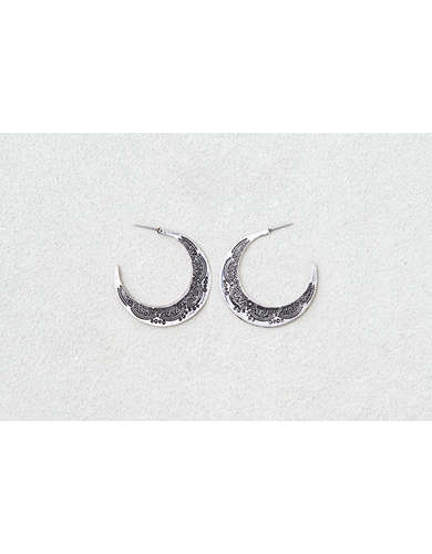 AEO Etched Large Silver Hoops  - Buy 3 for $30 USD