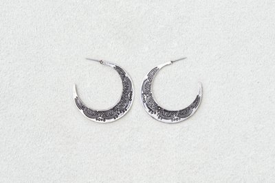 Etched Large Silver Hoops